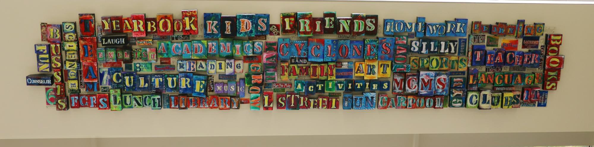 Word wall at Central MS