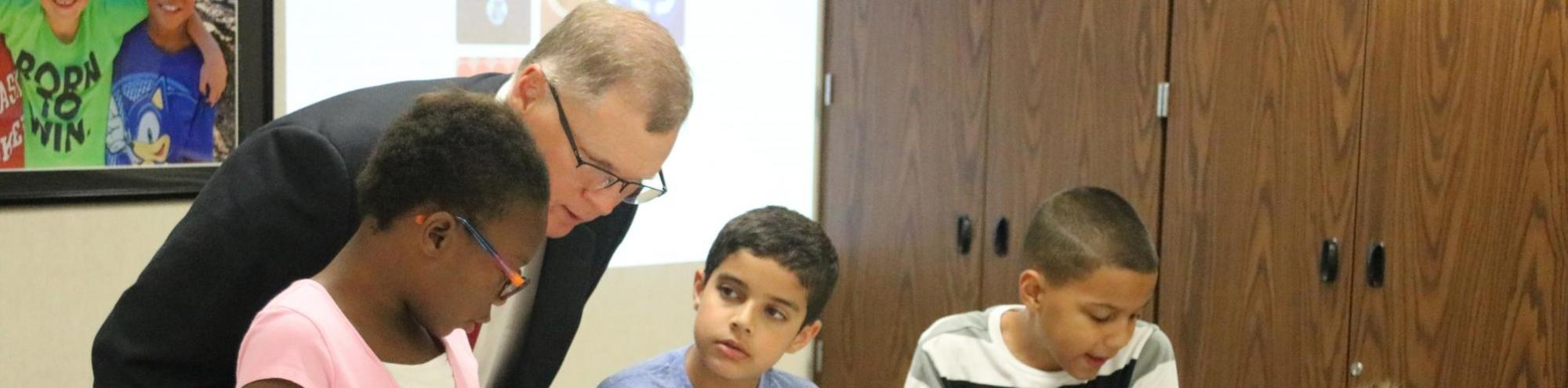 Dr. Sutfin with Elementary STEM students