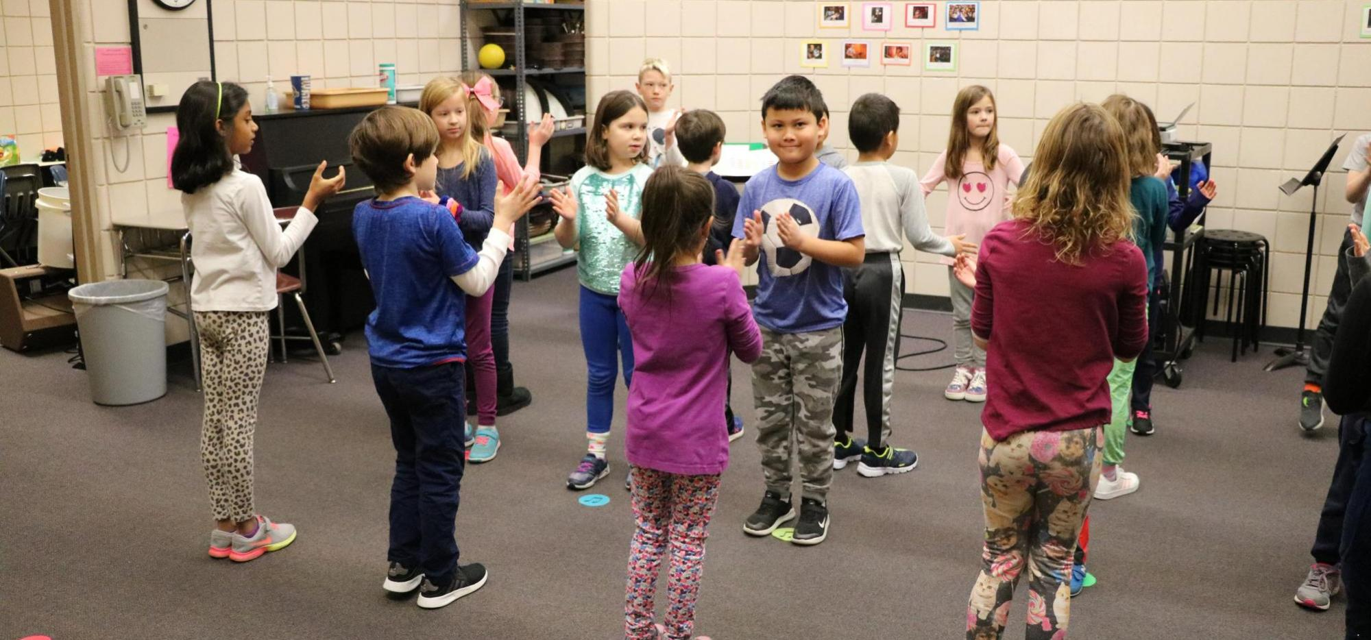 Students dancing in music class